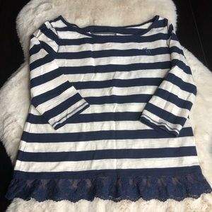 Abercrombie medium navy white strip tee with lace